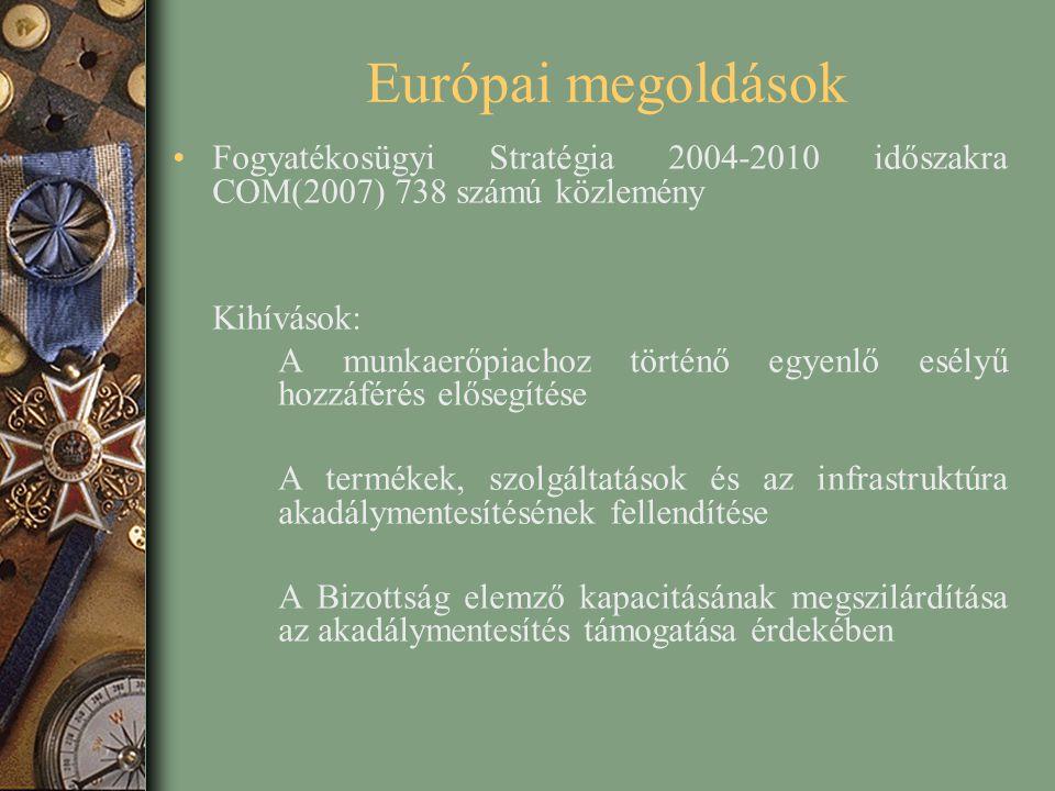Európai megoldások Fogyatékosügyi Stratégia 2004-2010 időszakra COM(2007) 738 számú közlemény. Kihívások: