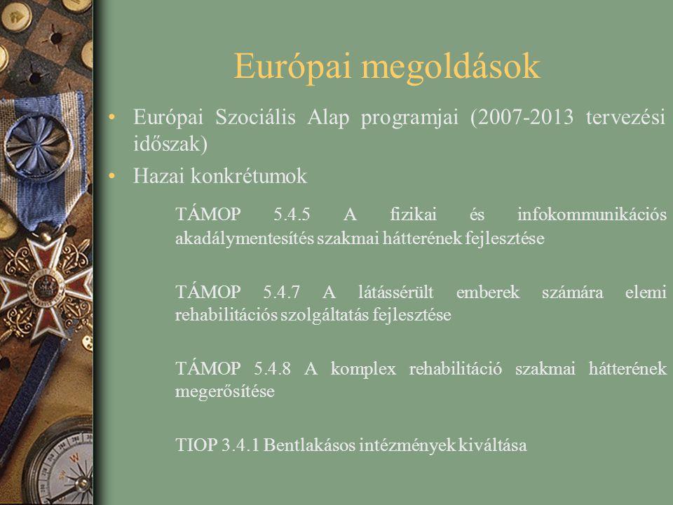 Európai megoldások Európai Szociális Alap programjai (2007-2013 tervezési időszak) Hazai konkrétumok.