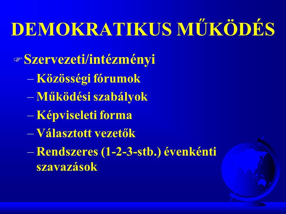 DEMOKRATIKUS MŰKÖDÉS Szervezeti/intézményi Közösségi fórumok