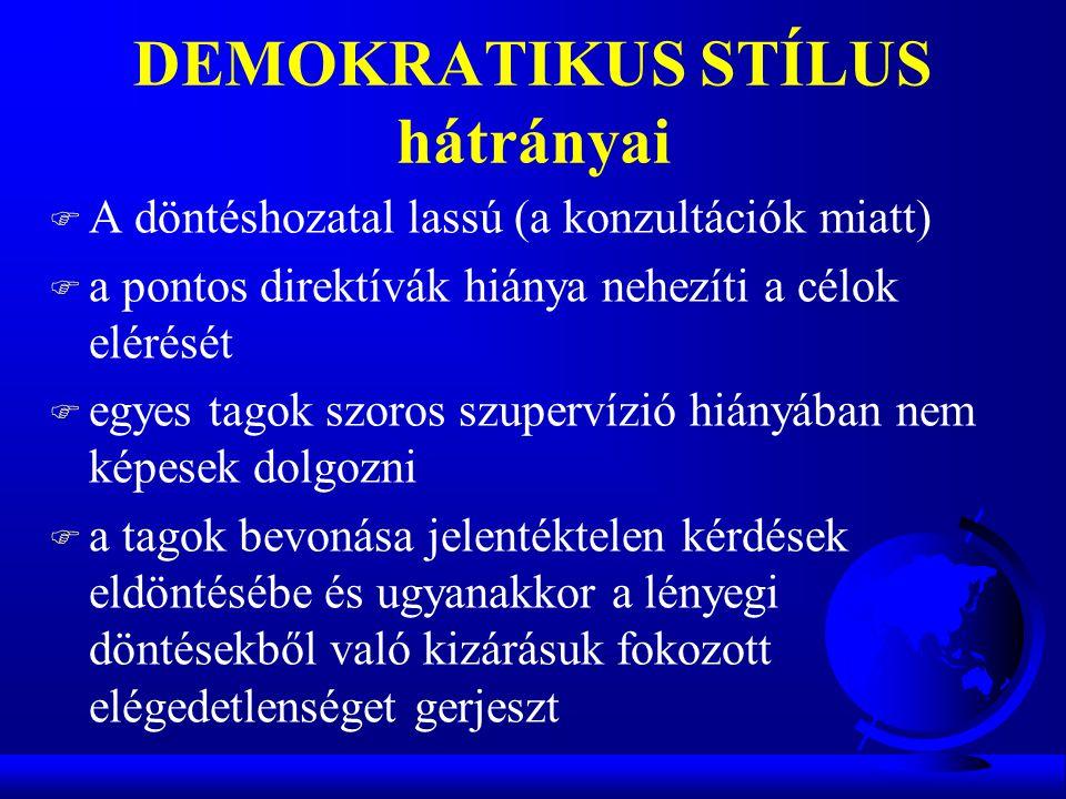 DEMOKRATIKUS STÍLUS hátrányai