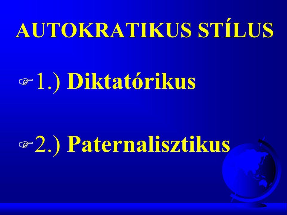 AUTOKRATIKUS STÍLUS 1.) Diktatórikus 2.) Paternalisztikus