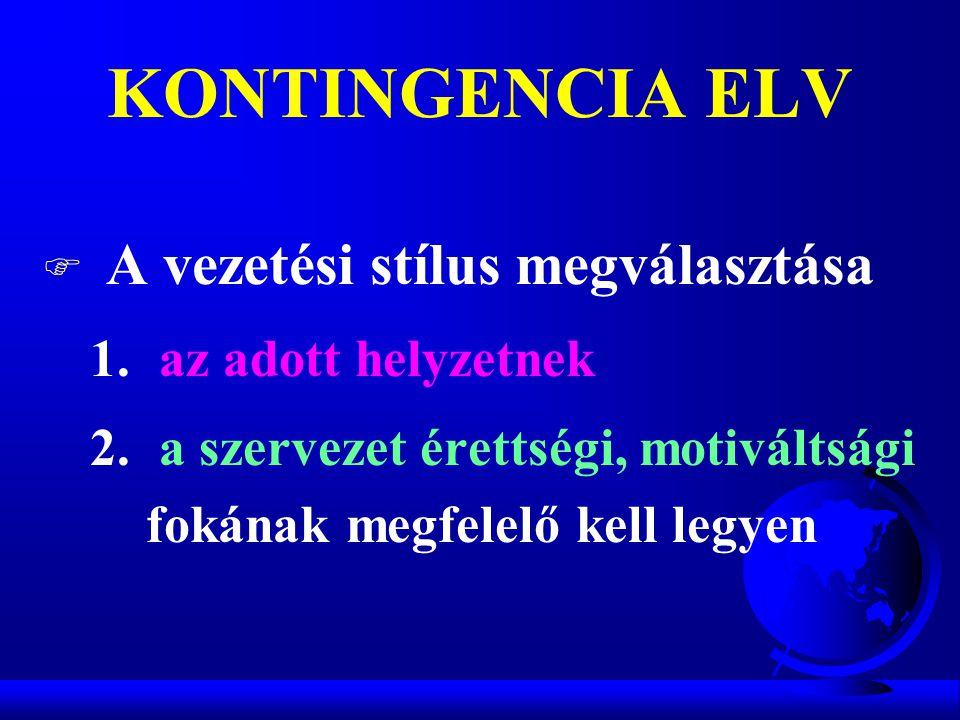 KONTINGENCIA ELV A vezetési stílus megválasztása az adott helyzetnek