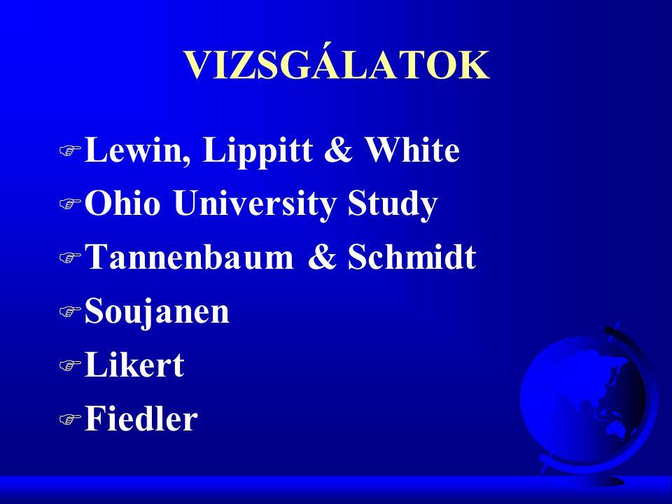 VIZSGÁLATOK Lewin, Lippitt & White Ohio University Study