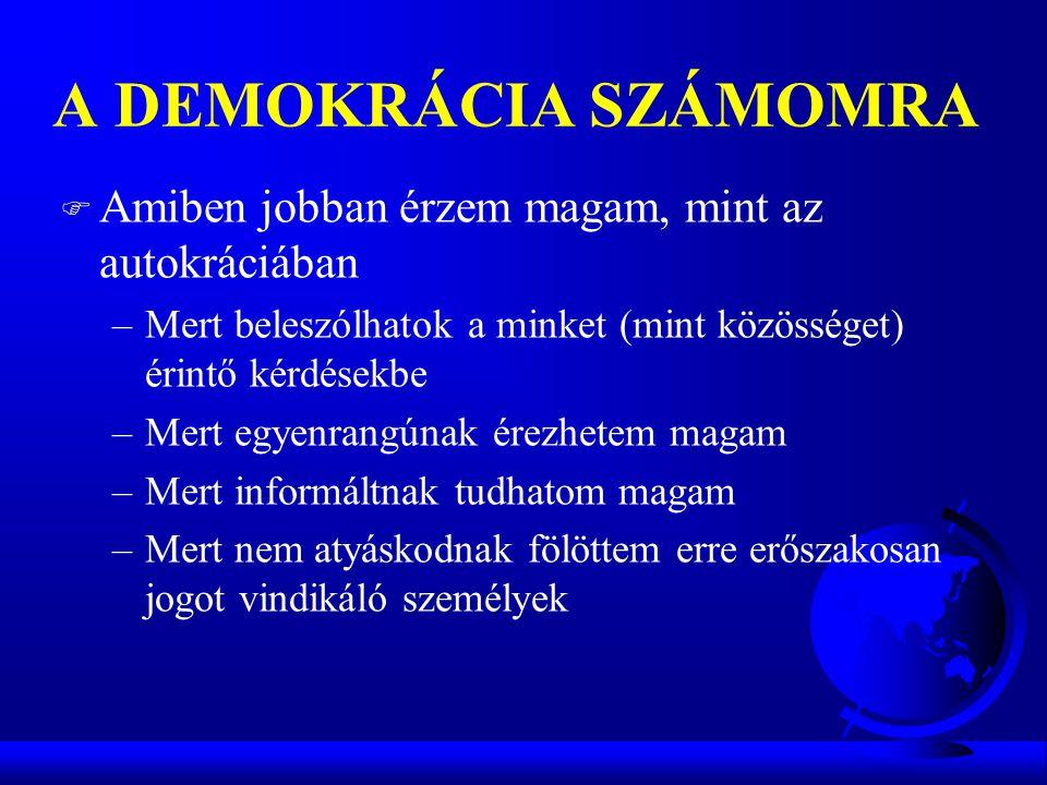 A DEMOKRÁCIA SZÁMOMRA Amiben jobban érzem magam, mint az autokráciában