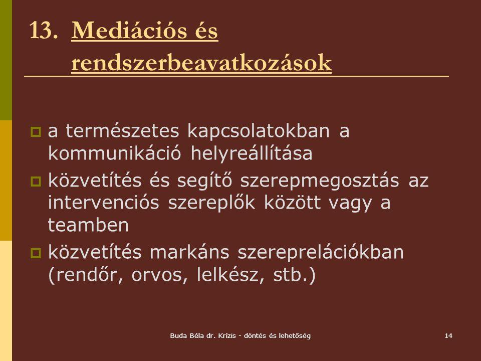 13. Mediációs és rendszerbeavatkozások