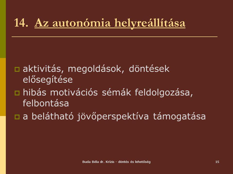 14. Az autonómia helyreállítása