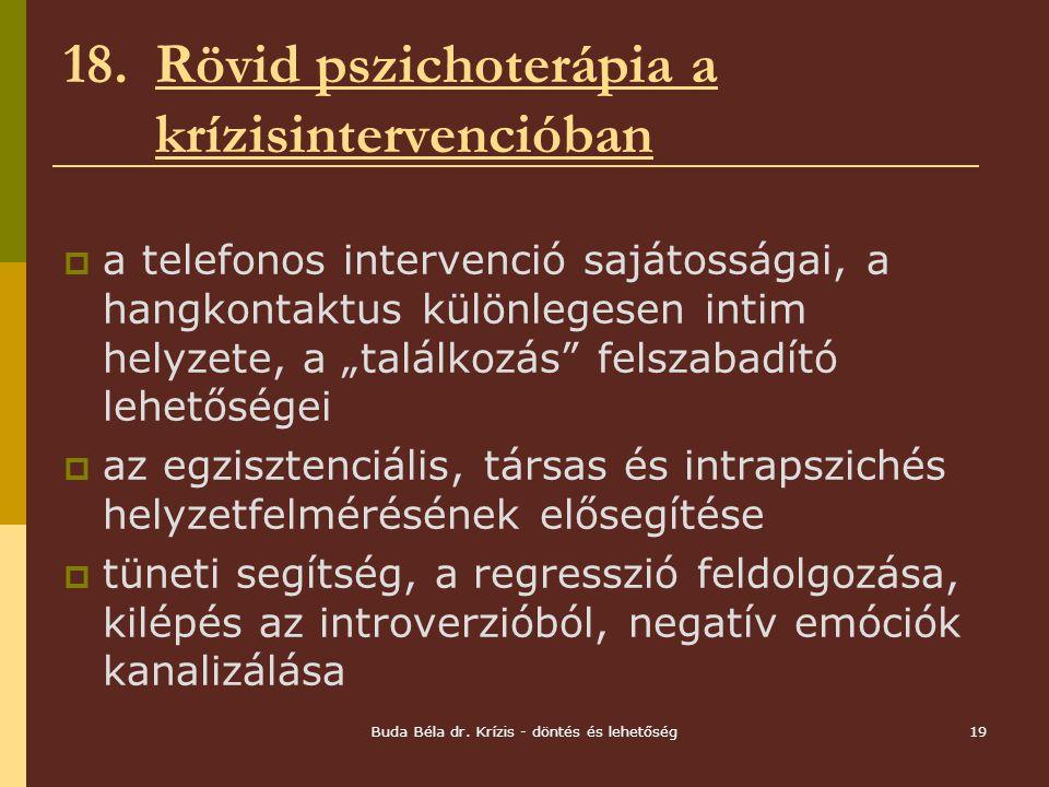 18. Rövid pszichoterápia a krízisintervencióban