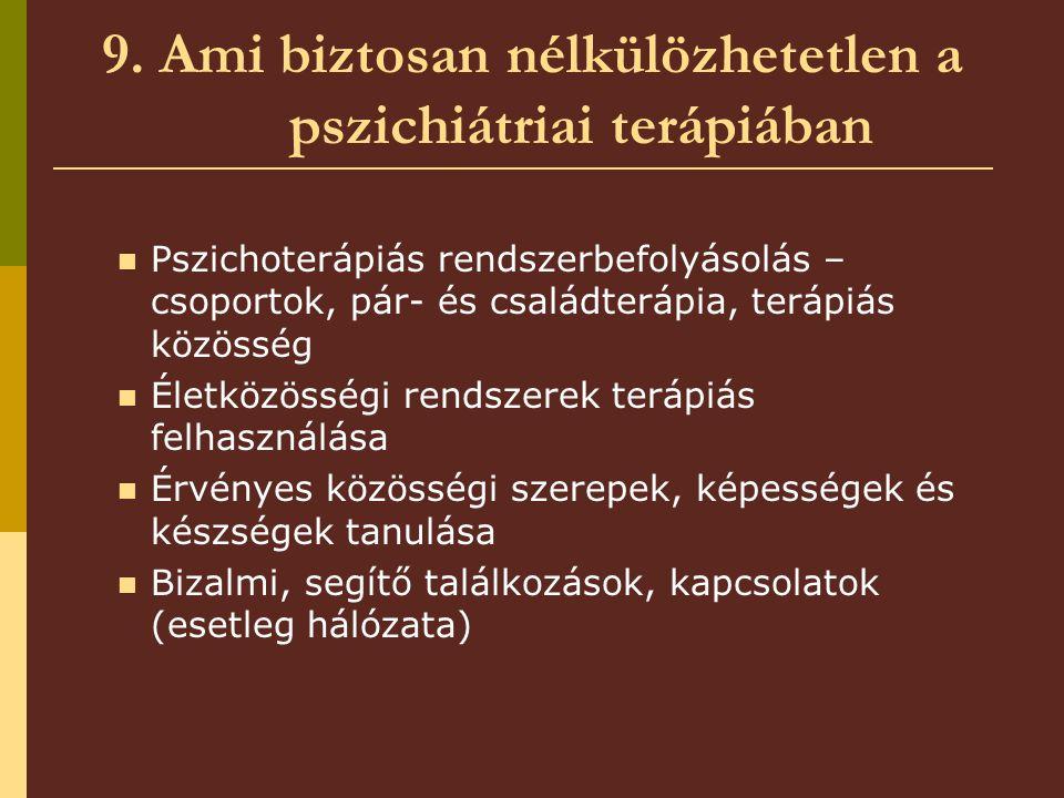 9. Ami biztosan nélkülözhetetlen a pszichiátriai terápiában