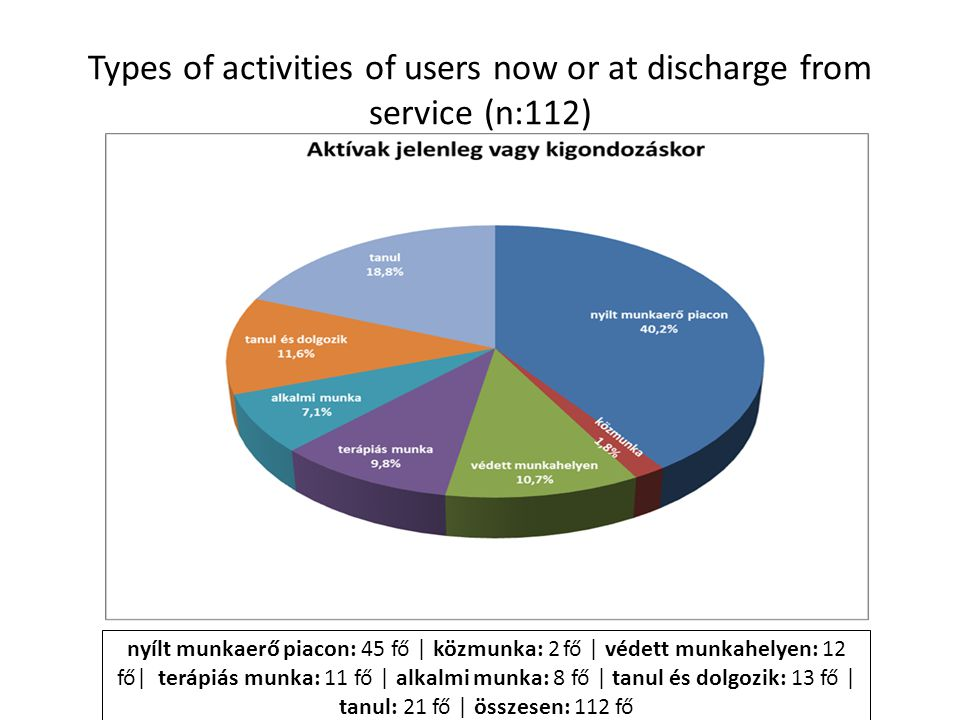 Types of activities of users now or at discharge from service (n:112)