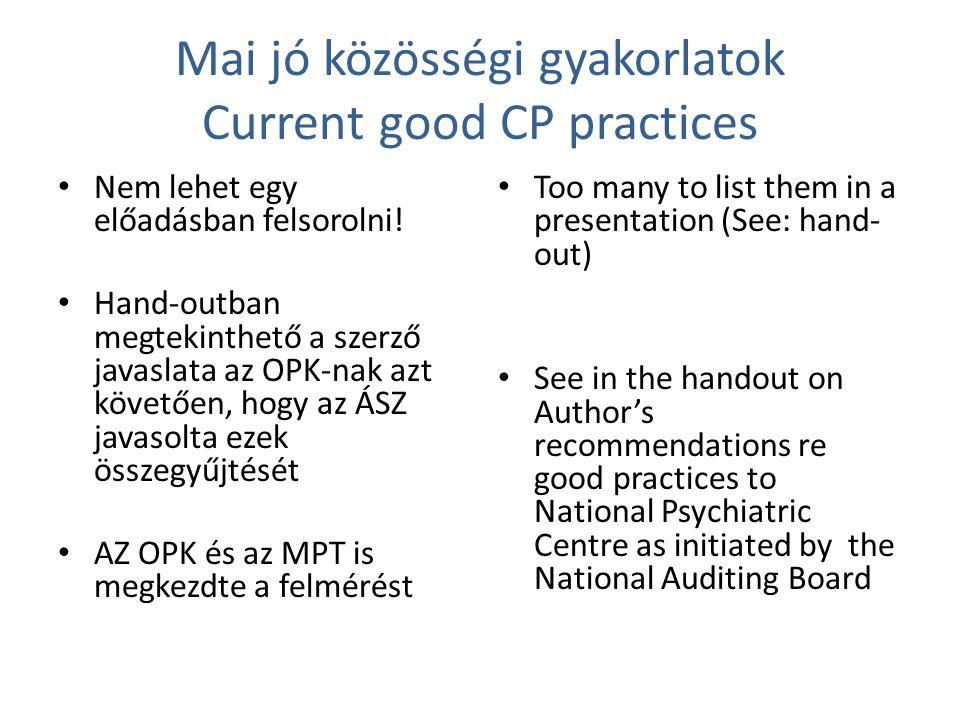 Mai jó közösségi gyakorlatok Current good CP practices