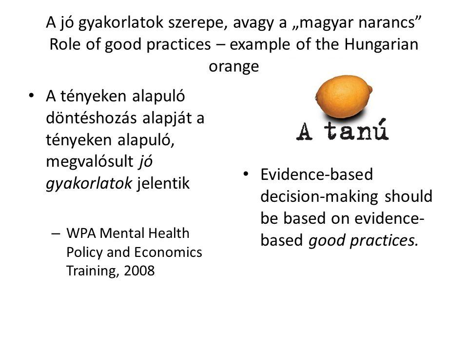 "A jó gyakorlatok szerepe, avagy a ""magyar narancs Role of good practices – example of the Hungarian orange"