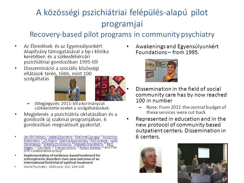 A közösségi pszichiátriai felépülés-alapú pilot programjai Recovery-based pilot programs in community psychiatry