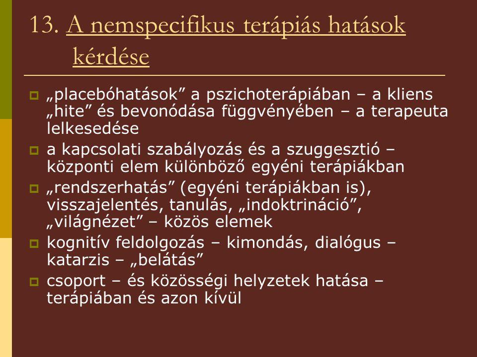 13. A nemspecifikus terápiás hatások kérdése