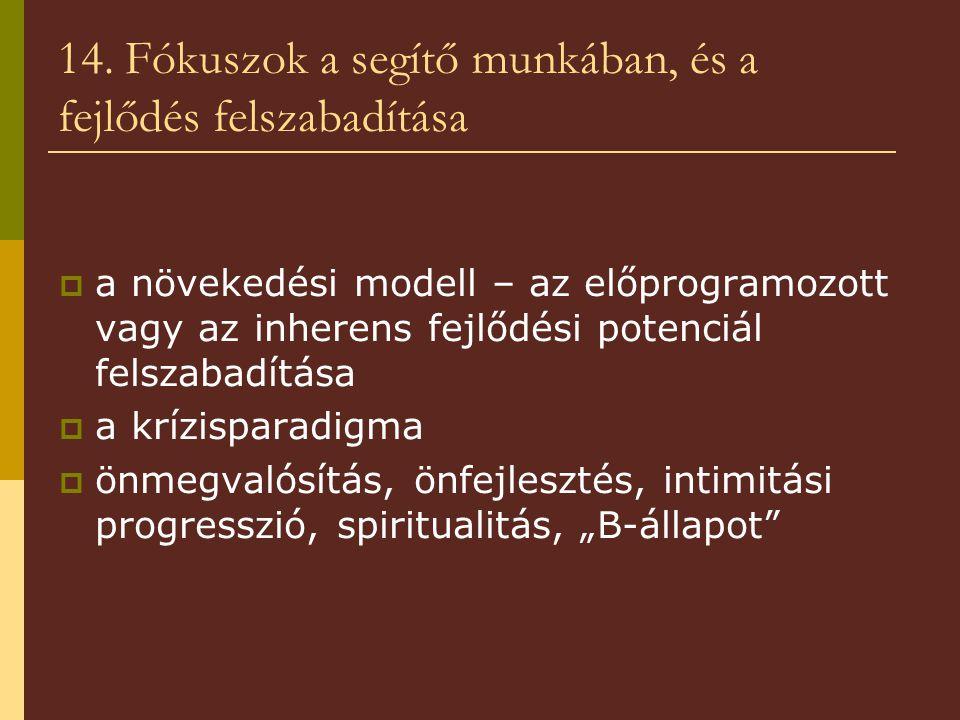 14. Fókuszok a segítő munkában, és a fejlődés felszabadítása