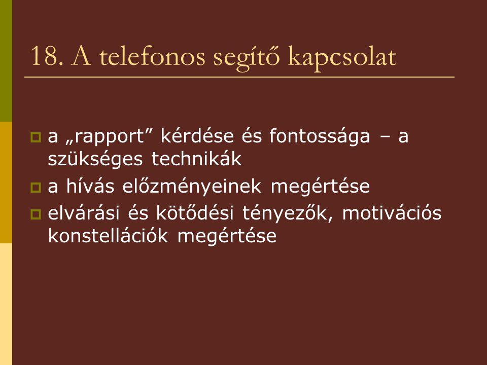 18. A telefonos segítő kapcsolat