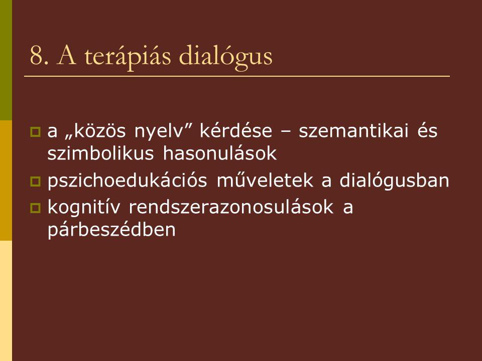 """8. A terápiás dialógus a """"közös nyelv kérdése – szemantikai és szimbolikus hasonulások. pszichoedukációs műveletek a dialógusban."""
