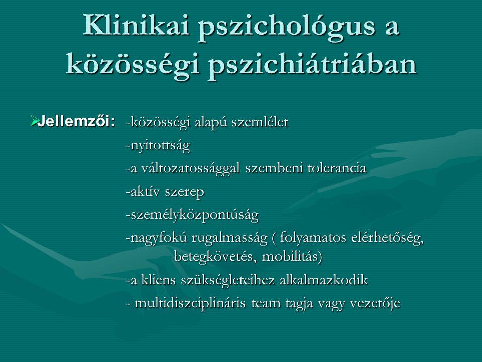 Klinikai pszichológus a közösségi pszichiátriában