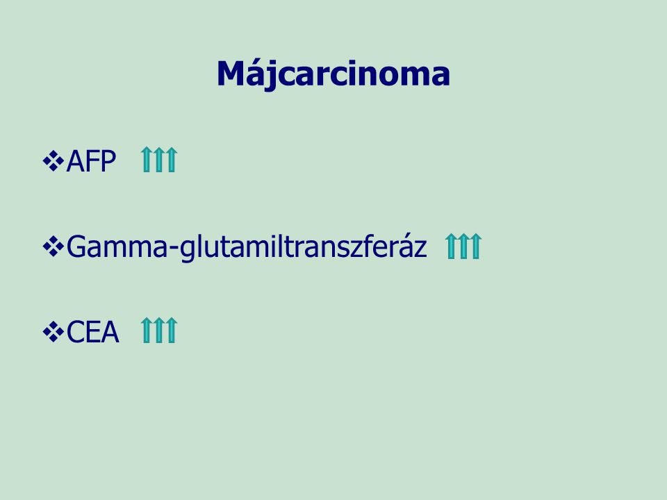 Májcarcinoma AFP Gamma-glutamiltranszferáz CEA