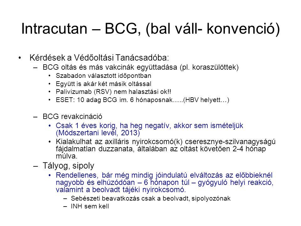 Intracutan – BCG, (bal váll- konvenció)