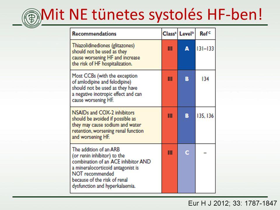 Mit NE tünetes systolés HF-ben!