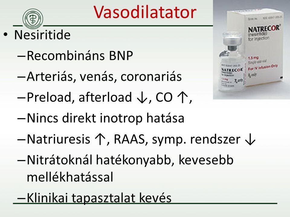 Vasodilatator Nesiritide Recombináns BNP Arteriás, venás, coronariás