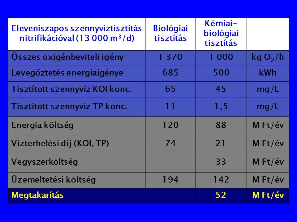 Eleveniszapos szennyvíztisztítás nitrifikációval (13 000 m3/d)