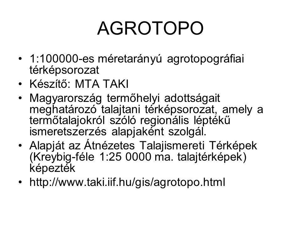AGROTOPO 1:100000-es méretarányú agrotopográfiai térképsorozat