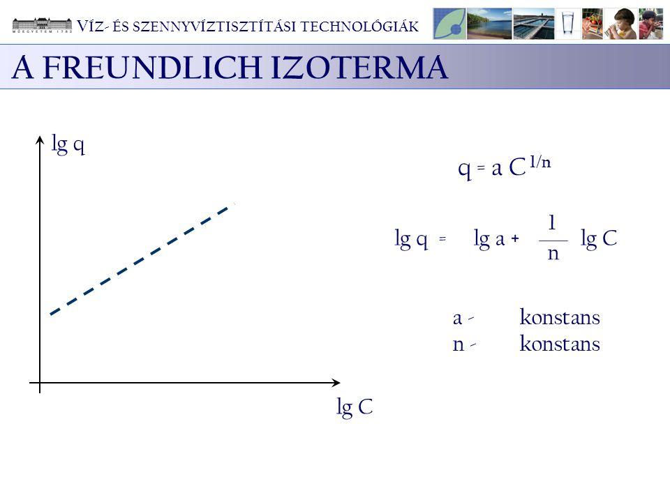 A FREUNDLICH IZOTERMA q = a C 1/n lg q 1 lg q = lg a + lg C n