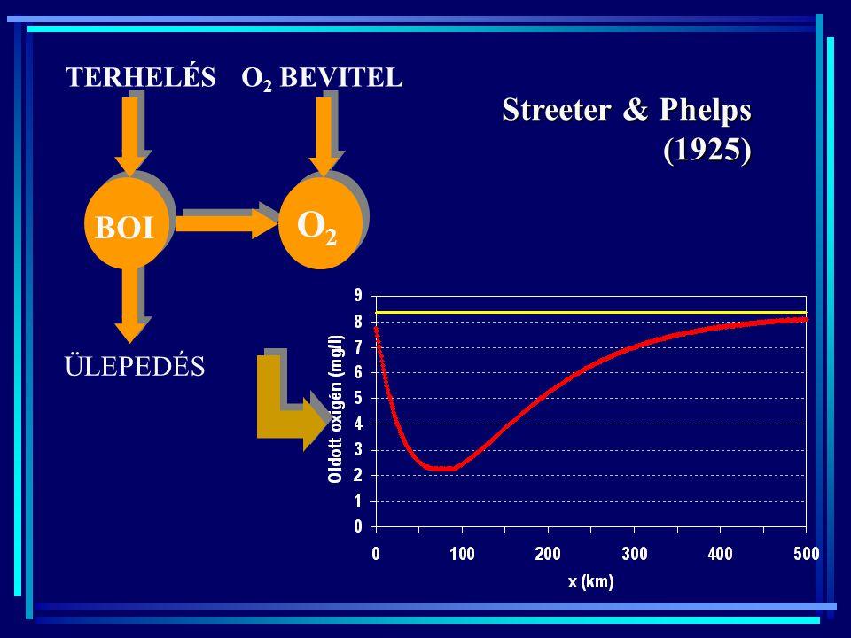 BOI O2 TERHELÉS O2 BEVITEL ÜLEPEDÉS Streeter & Phelps (1925)
