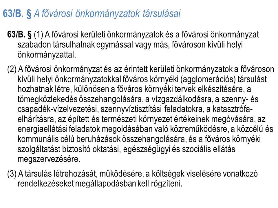 63/B. § A fővárosi önkormányzatok társulásai