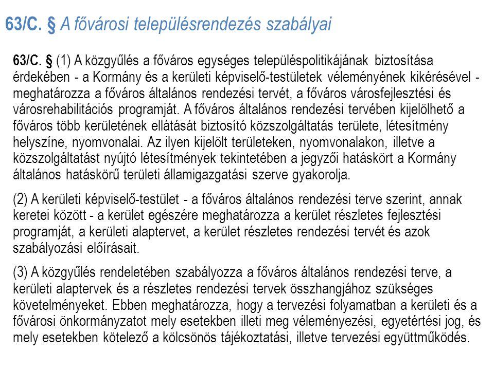 63/C. § A fővárosi településrendezés szabályai