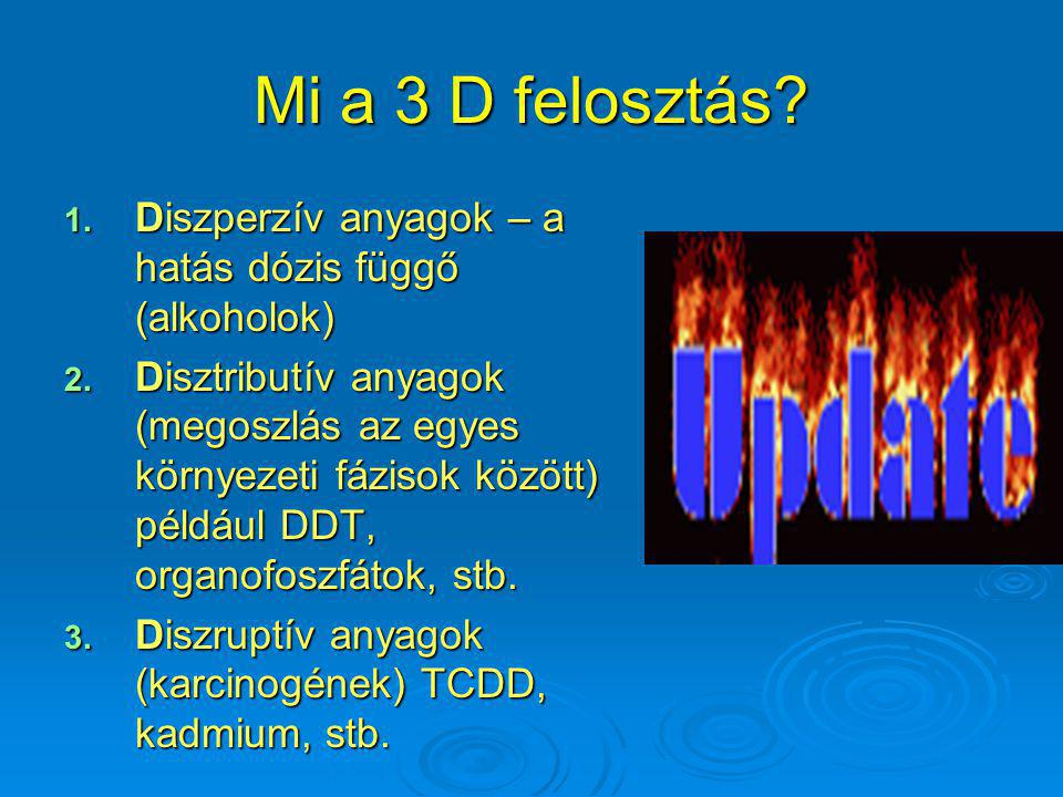 Mi a 3 D felosztás Diszperzív anyagok – a hatás dózis függő (alkoholok)