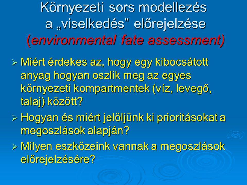 """Környezeti sors modellezés a """"viselkedés előrejelzése (environmental fate assessment)"""