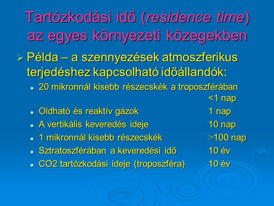 Tartózkodási idő (residence time) az egyes környezeti közegekben