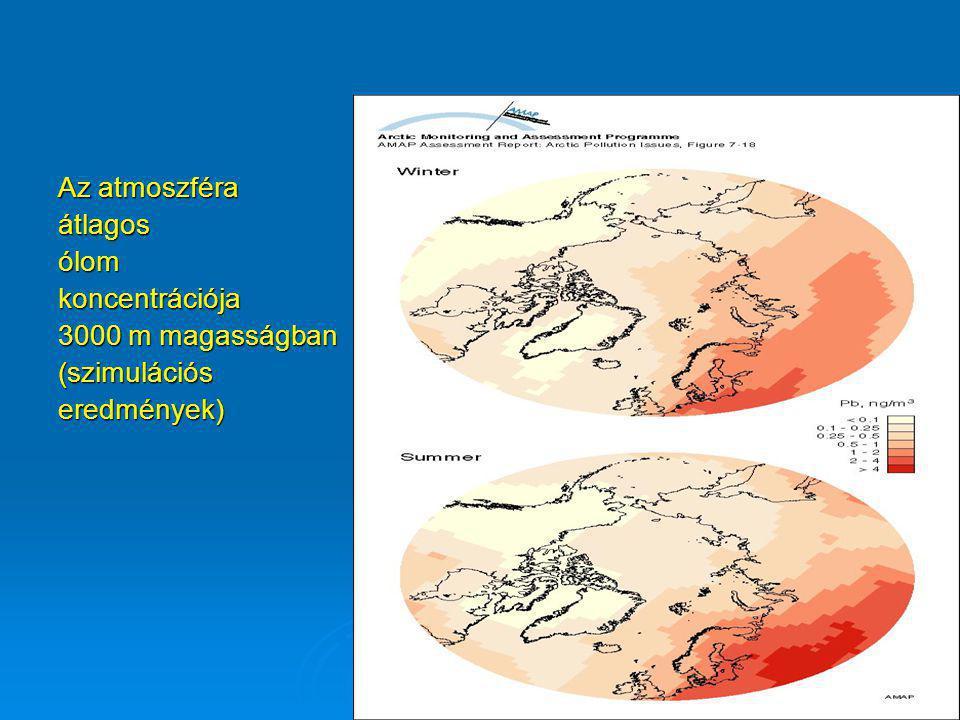Az atmoszféra átlagos ólom koncentrációja 3000 m magasságban (szimulációs eredmények)