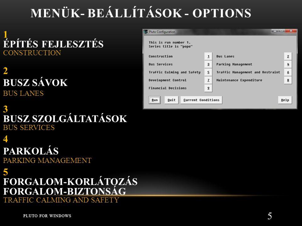 Menük- beállítások - Options