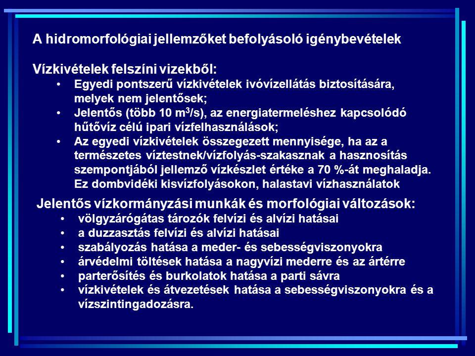 A hidromorfológiai jellemzőket befolyásoló igénybevételek
