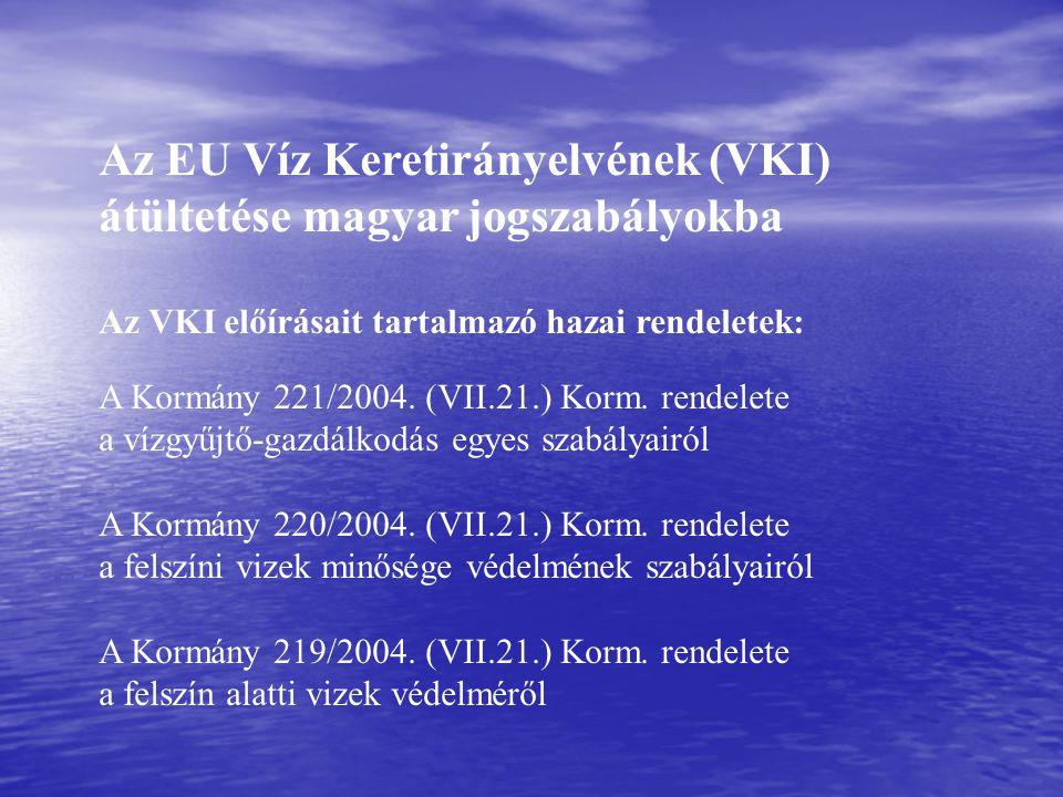 Az EU Víz Keretirányelvének (VKI) átültetése magyar jogszabályokba