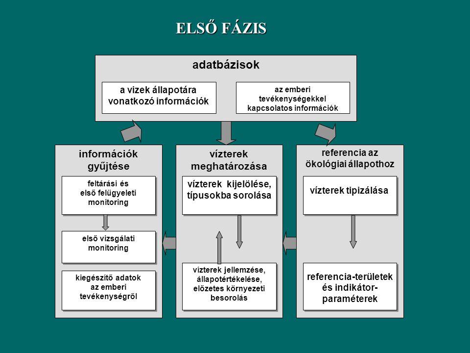 ELSŐ FÁZIS adatbázisok vízterek meghatározása információk gyűjtése
