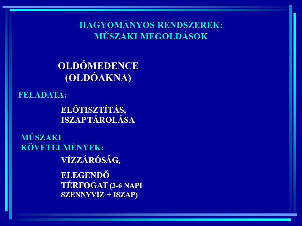 HAGYOMÁNYOS RENDSZEREK: OLDÓMEDENCE (OLDÓAKNA)