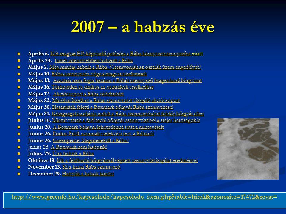 2007 – a habzás éve Április 6. Két magyar EP-képviselő petíciója a Rába környezetszennyezése miatt.