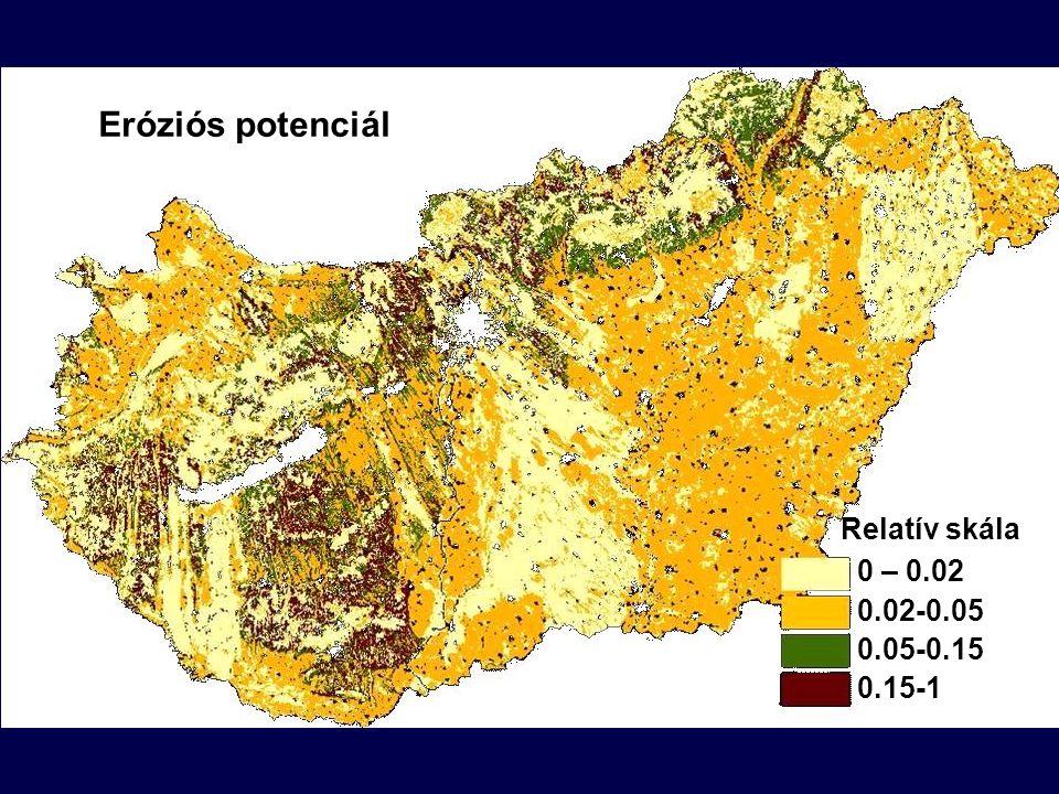 Eróziós potenciál Relatív skála 0 – 0.02 0.02-0.05 0.05-0.15 0.15-1