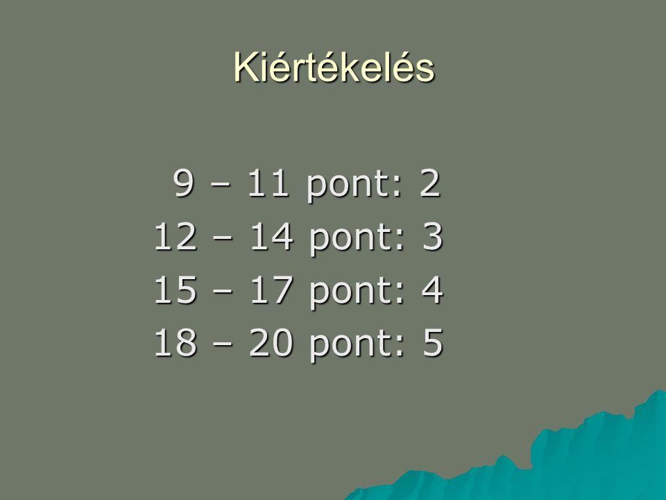 Kiértékelés 12 – 14 pont: 3 15 – 17 pont: 4 18 – 20 pont: 5