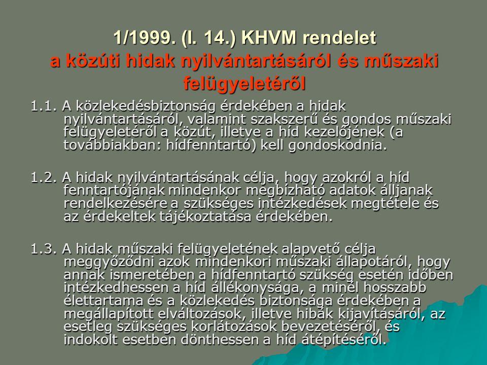 1/1999. (I. 14.) KHVM rendelet a közúti hidak nyilvántartásáról és műszaki felügyeletéről