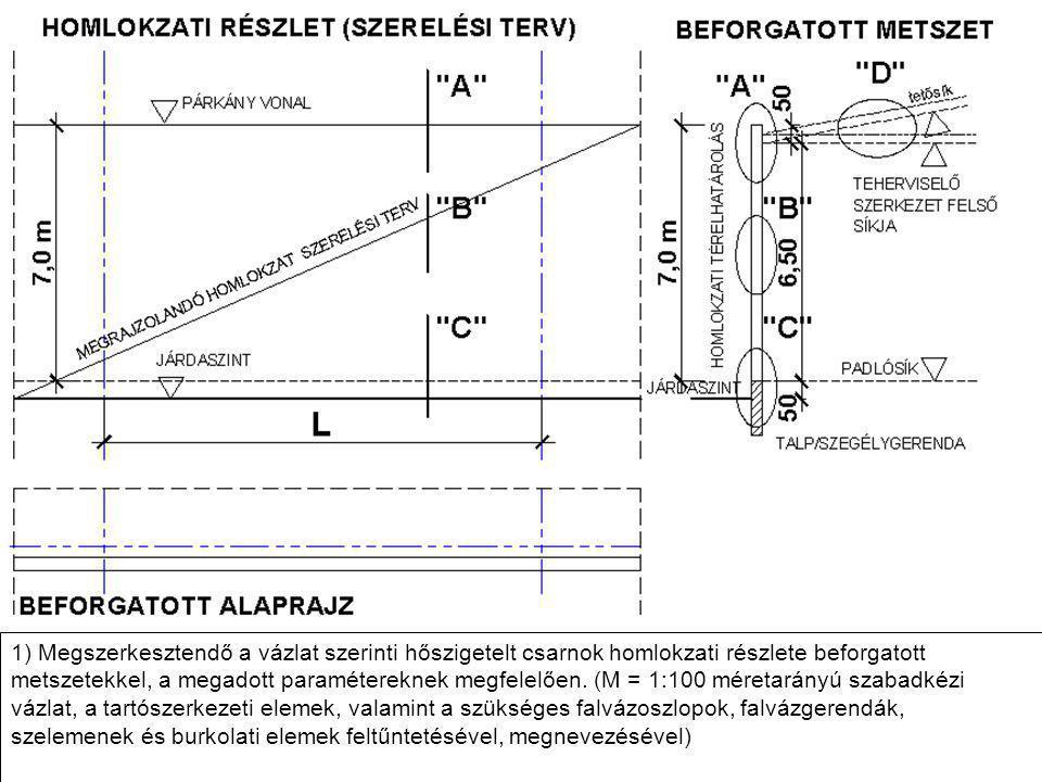 1) Megszerkesztendő a vázlat szerinti hőszigetelt csarnok homlokzati részlete beforgatott metszetekkel, a megadott paramétereknek megfelelően.