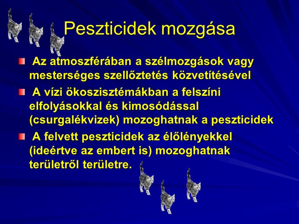 Peszticidek mozgása Az atmoszférában a szélmozgások vagy mesterséges szellőztetés közvetítésével.