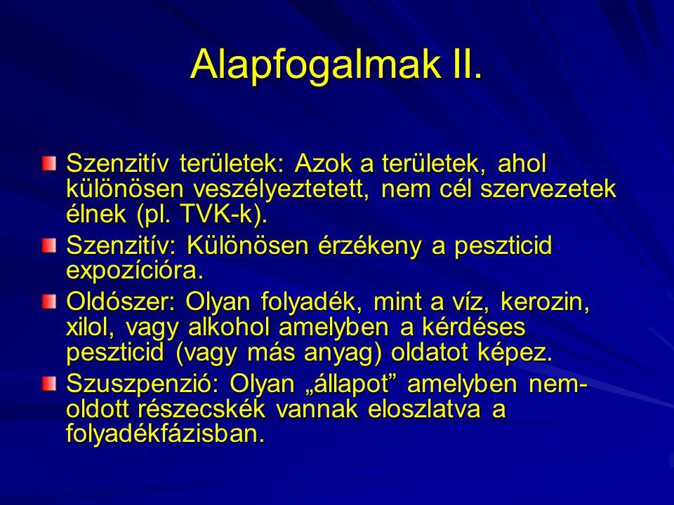 Alapfogalmak II. Szenzitív területek: Azok a területek, ahol különösen veszélyeztetett, nem cél szervezetek élnek (pl. TVK-k).