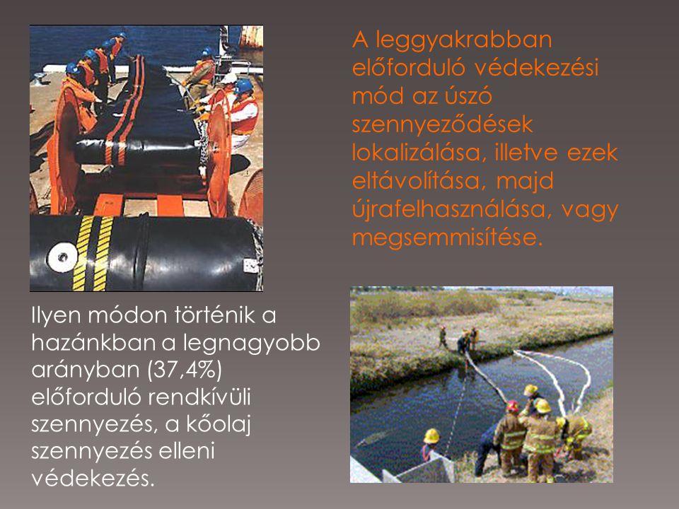 A leggyakrabban előforduló védekezési mód az úszó szennyeződések lokalizálása, illetve ezek eltávolítása, majd újrafelhasználása, vagy megsemmisítése.