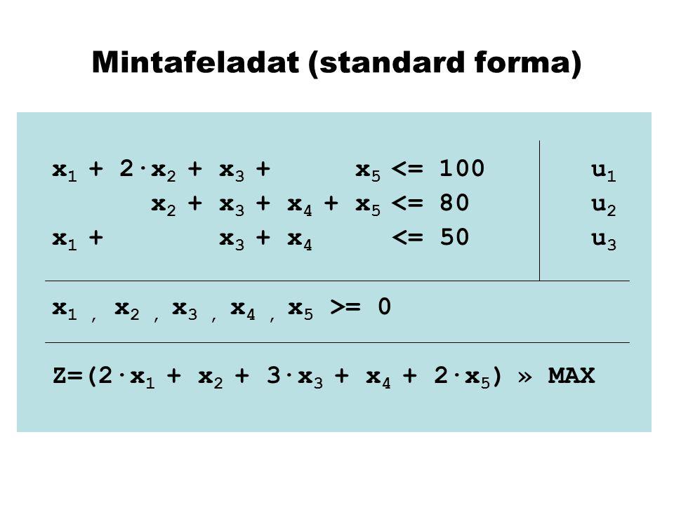 Mintafeladat (standard forma)