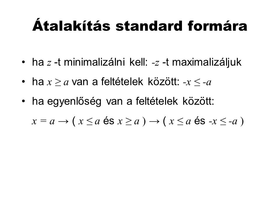 Átalakítás standard formára